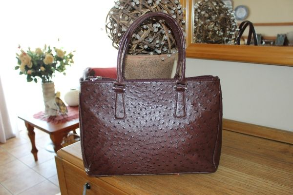 Isabella -  Noble Stone, Genuine African Ostrich Leather Handbag.