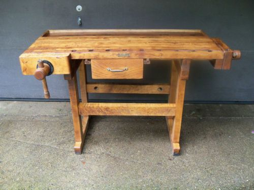 Antique Maple Cabinetmaker Carpenter Workbench C