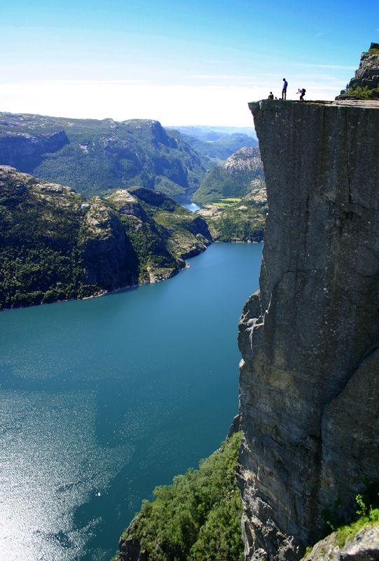 Preikestolen, Norway (Preachers Pulpit)-looks amazing but truthfully I don't think I could handle the walk along the cliffs to get there.  This is a short distance away from my cousin Svein's home.