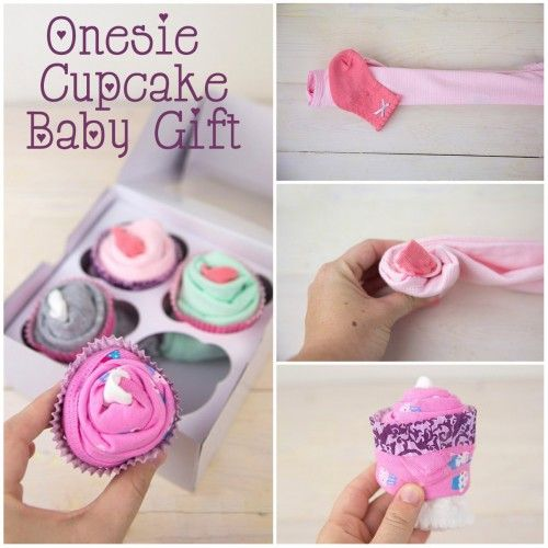 Onesie Cupcake Baby Shower Gift Text
