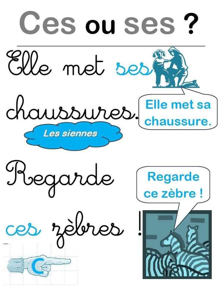 Affiche pour les homophones ces/ses | MA MAITRESSE DE CM1-CM2