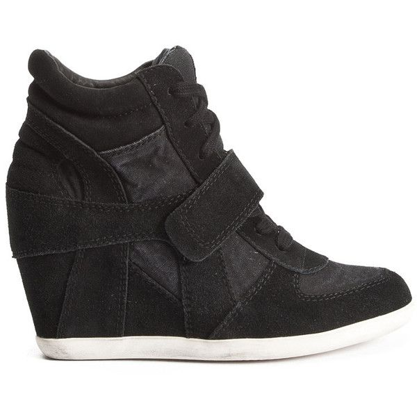 Ash Bowie Canvas and Suede Wedge Trainer - Black ($210) ❤ liked on Polyvore featuring shoes, sneakers, sapatos, heels, wedges, black, suede wedge sneakers, black suede shoes, ash sneakers und wedges shoes