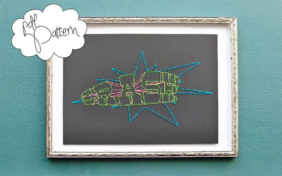 Modern neon doodle graffiti creator pdf stiching pattern, stitched stiching cardboard handmade embroidery pattern needlepoint artwork CRASH    Very