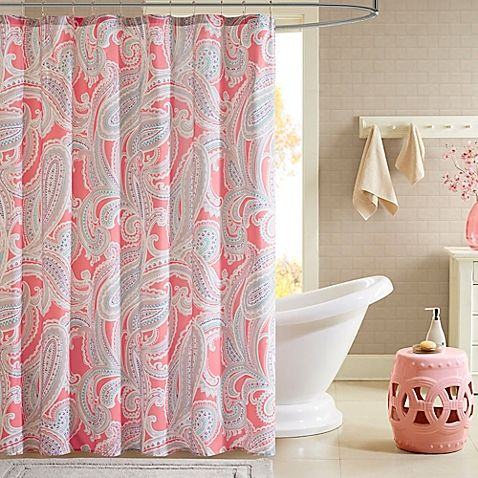 Intelligent Design Paola Printed Shower Curtain in Pink