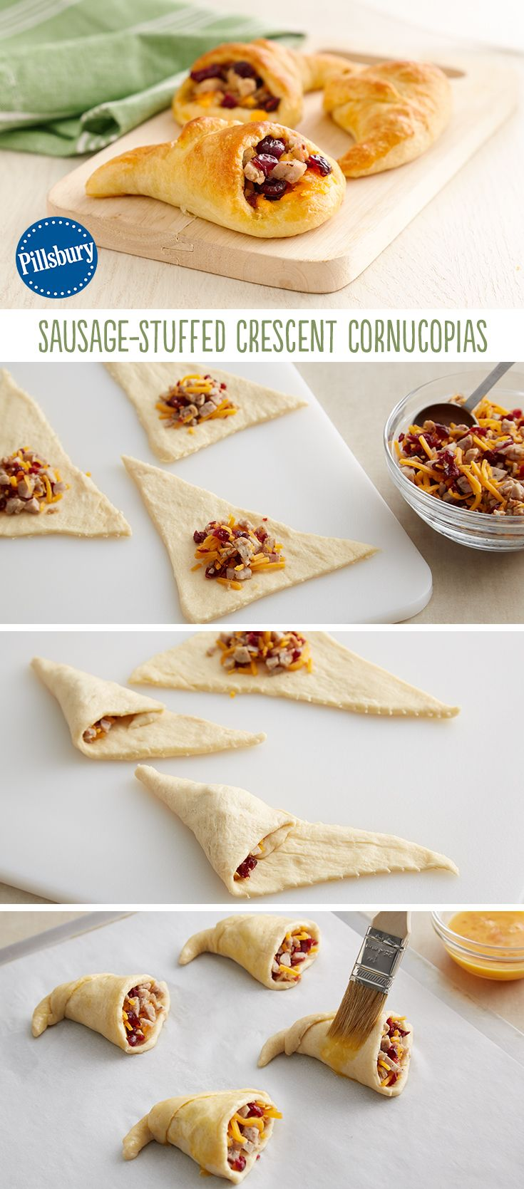 Using Pillsbury crescent rolls, you can make these awesome tasty Sausage-Stuffed Crescent Cornucopias! They can be served as pre-turkey appetizers or as a bread on the side for Thanksgiving.