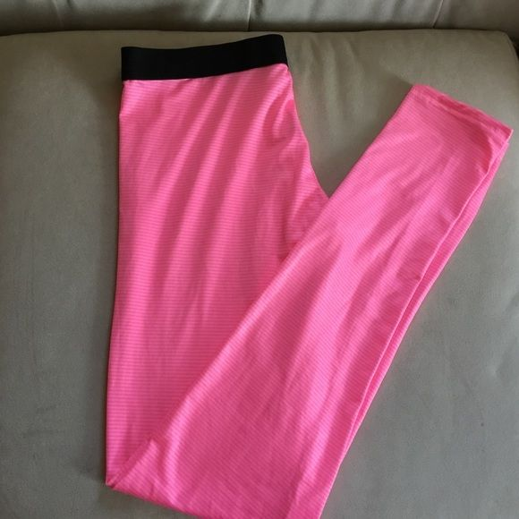 Marks & Spencer leggings Condition: new without tag brand new unused and unworn item. Details: dark pink and light pink strips leggings with black elastic waistband. 5% polyester 50% viscose lightweight very stretchy. UK size 12 US size 8    Waist 29.5 inches Hip 39.5 inches 🛍bundle 10% off MARKS & SPENCER Pants Leggings