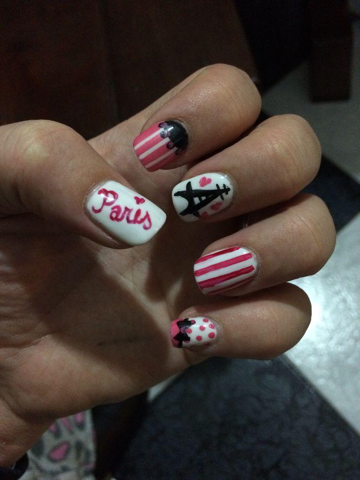 Paris french girly pink nails nailart
