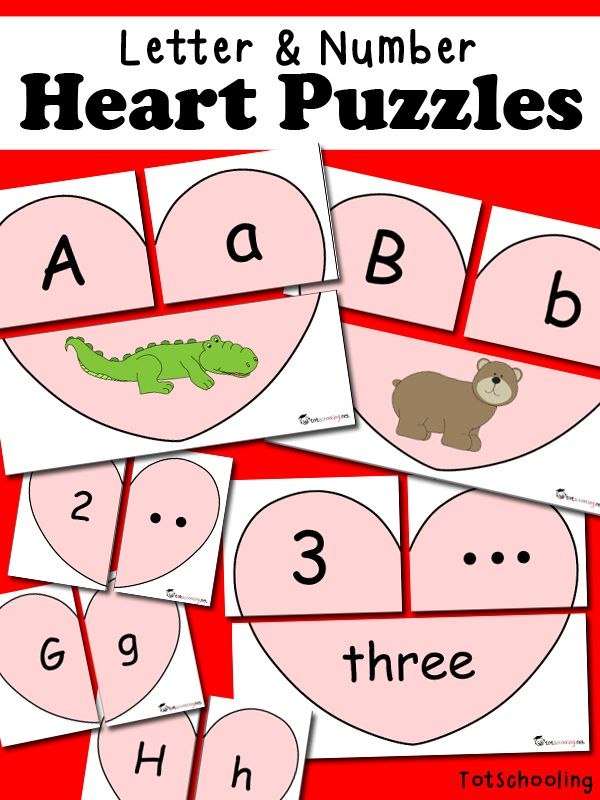 Free Letter & Number Heart Puzzles