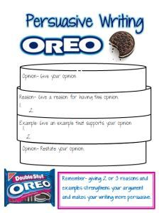 Oreo Graphic Organizer. Grade 4. Writing. Standard: 4.W.1 Write opinion pieces on topic or texts, supporting a point of view with reasons and information.  Fourth grade students will use this organizer to help them formulate their opinion and ideas. It will provide them with great organizational skills for their pieces.