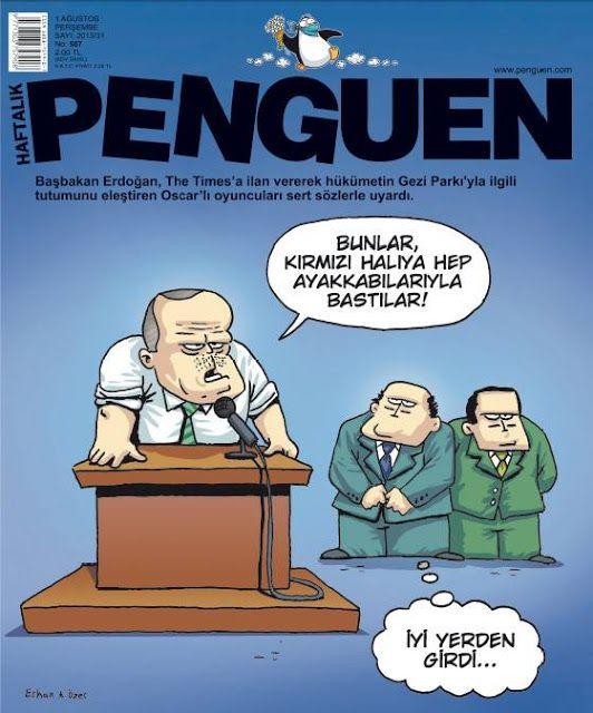 Erdoğan, Penguen'in kapağında The Times'a ilan veren Oscar'lı oyuncuları sert sözlerle eleştirdi!