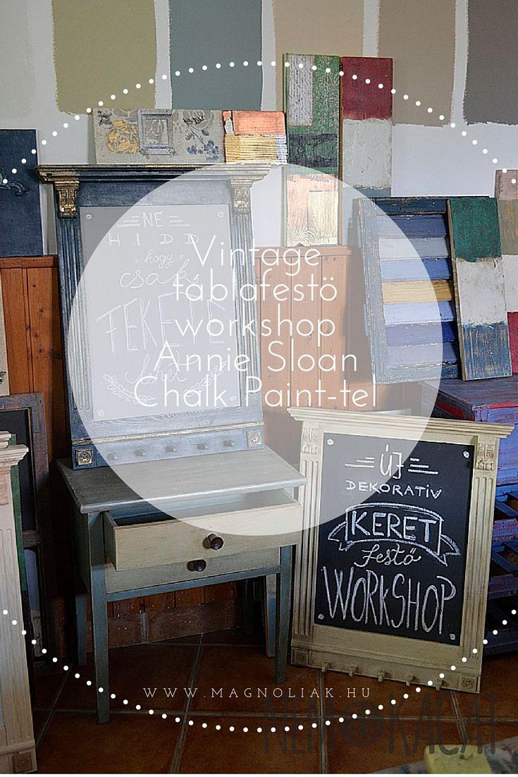 Antikolási technikáinak bemutatása VINTAGE TÁBLÁN, melynek egyedi felületein izgalmas texturákat lehet létrehozni az Annie Sloan Chalk Paint™-tel. Egy worskhop, ahol elmélet és a gyakorlat egyenlő mértékben kerül bemutatásra. Hosszú hónapok tervezése során egy olyan egyedi TÁRGY készült asztalos által, amelyen a cél az: minél többféle felületen pl. faragott, bordázott stb. lehessen kipróbálni és bemutatni Annie Sloan antikolási technikáit, amely világszerte nagy népszerűségnek örvend.