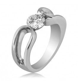 0.91 CTTW ROUND CUT SOLITAIRE DIAMOND ENGAGEMENT OR WEDDING RING IN 18K WHITE GOLD
