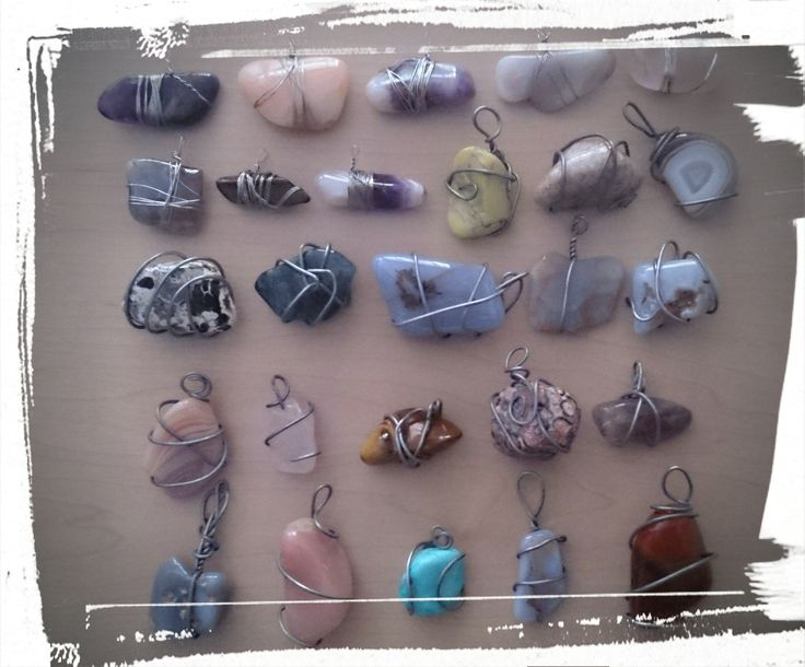 handmade wire wrapped stone pendants #chokers #jewellery.