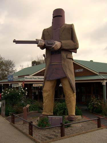 20 feet tall Big Ned Kelly, the iconic Australian outlaw, in Glenrowan, Victoria