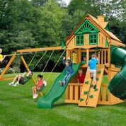 Gorilla Playsets Mountaineer Clubhouse Treehouse Swing Set w/ Amber Posts 01-0054-AP