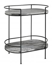 MIDNIGHT oval side table, black marble,