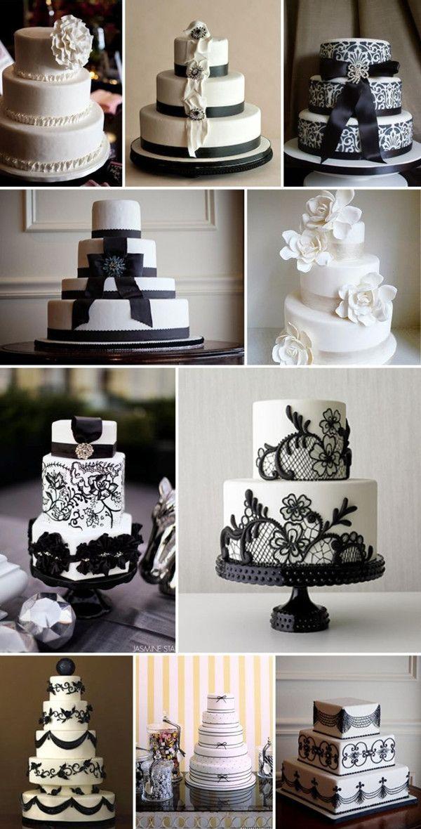 Plan a Black and White Wedding Cakes Read More: www.elegantweddinginvites.com/how-to-plan-a-black-and-white-wedding/