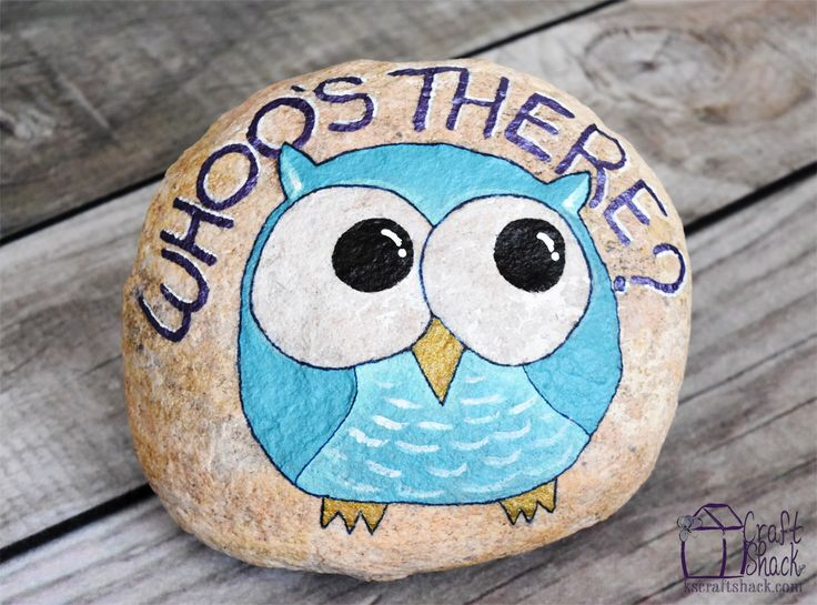 """Paint a rock to add cute, whimsical decoration to your front porch. Welcome visitors with this adorable painted owl """"Who's there?"""" rock."""