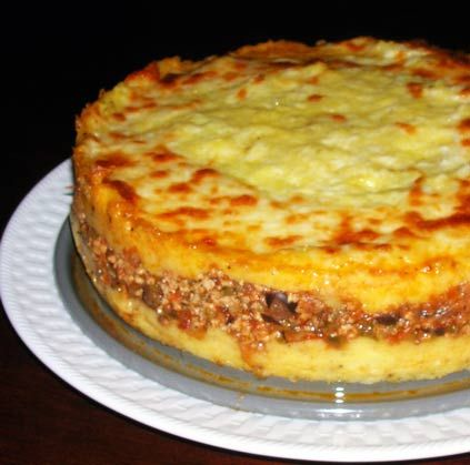 Polenta Tamale Torte...Substitute beans or other veggies for the meat