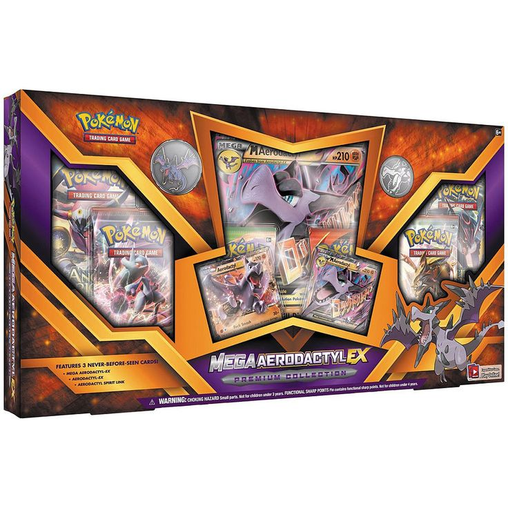 Pokemon Mega Aerodactyl-EX Premium Collection Box: A flying Fossil Pokemon that packs a furious punch, Mega Aerodactyl-EX is here! Get the Mega Aerodactyl-EX Premium Collection and add this power Pokemon to your next game!<br><br>The Pokemon Mega Aerodactyl-EX Premium Collection Box Trading Card Game Features:<br><ul><li>1 never-before-seen foil promo card featuring Mega Aerodactyl-EX</li><br><li>1 never-before-seen foil promo card featuring Aerodactyl-EX</li><br><li>1 Aerodactyl Spirit Link…