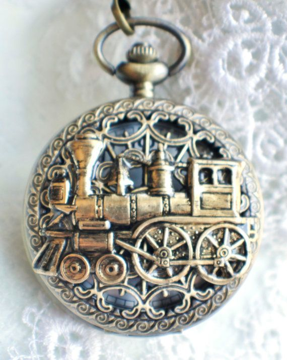 Train pocket watch, men's mechanical pocket watch with train mounted on front case in bronze.