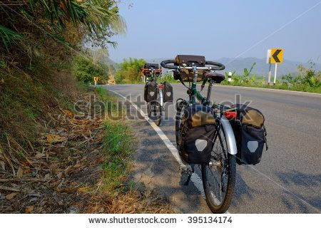 Bicycle Touring on the road.