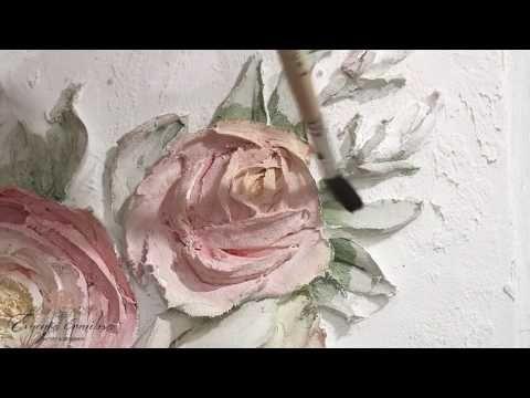 Объемная (рельефная) живопись Зеркало Роза часть 1 - YouTube