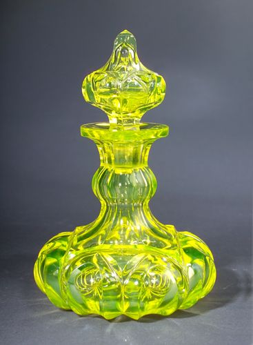 Victorian decorative perfume bottle.  Love the canary yellow glass made by The Boston and Sandwich Glass Company as well as other contemporary companies that produced glass.