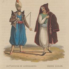Hand-coloured portraits of an officer of the Janissaries and a Greek sailor-As well as being defined by religion and language, Greek identity was shaped by traditions, class and occupation, and towards the late 18th century a distinctive Greek consciousness began to emerge. In addition, the Greek diaspora, who set up prosperous colonies in major cities and ports in western Europe, absorbed western intellectual ideas of the time. The diasporic Greeks would play a significant role in the path…