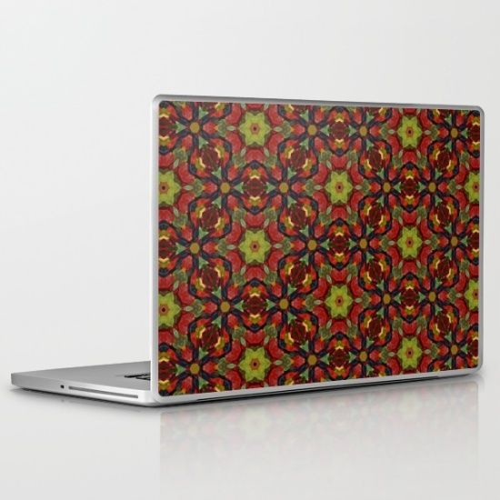 A colorful lime green bowl of multi-colored gummy bears transformed into star shaped hexagon pattern iPad / laptop skin