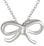 Women's Sterling Silver Diamond Bow Pendant Necklace (0.01 cttw, I-J Color, I2 Clarity), 18""
