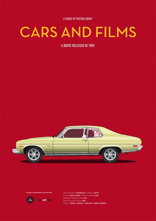 Pulp Fiction inspired poster by Jesús Prudencio. Cars And Films