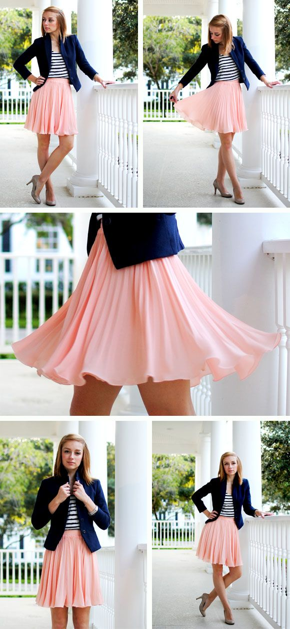 Stripes + pink pleated skirt = pretty and casual. Stripes + pink pleated  skirt + blue blazer = Smart and ready for work.