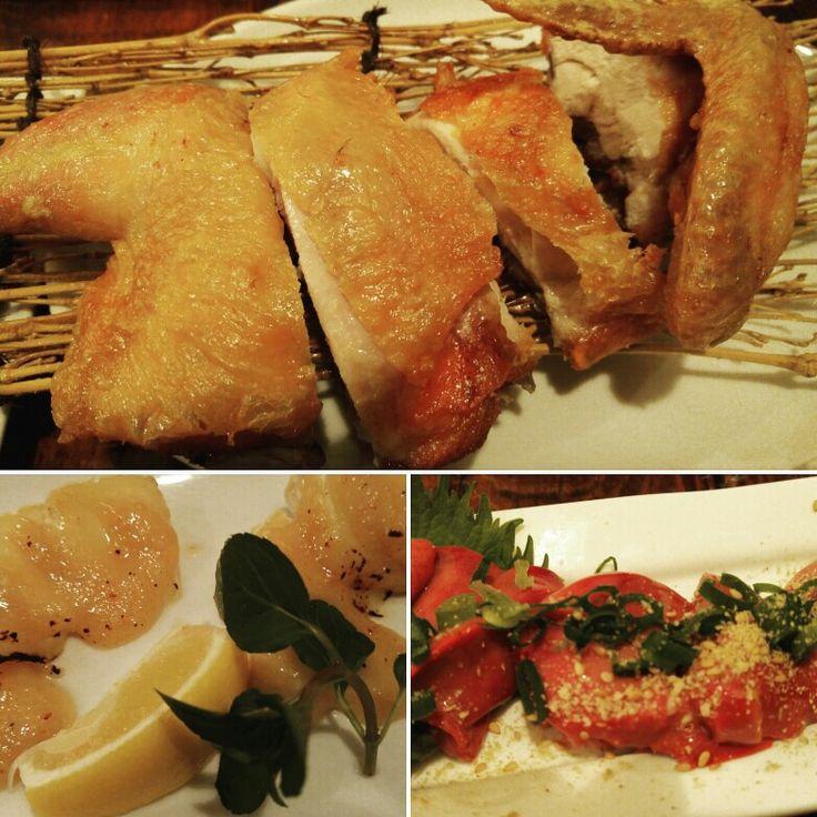 鶏の素揚げ 鶏の白レバー刺し カマンベールチーズの味噌焼き@新宿・YOSHINO