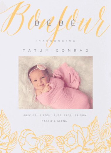 Bonjour Bebe  Birth Announcement. Baby. Design Fee by PartyGlamourShopBaby on Etsy (null)