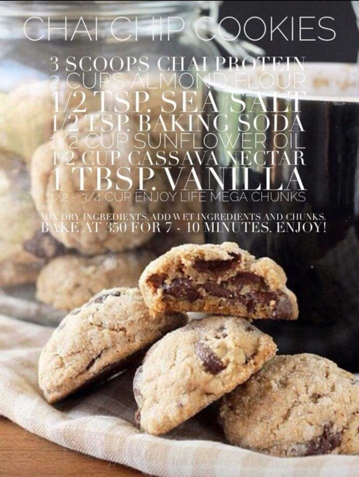 Chai Chip Cookies Arbonne Recipes Protein Cookie Recipe
