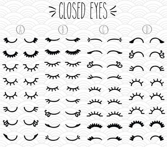 Closed Eyes Clip Art Bundle Hand Drawn Woman Eyelashes Illustration Girl Cartoon Eyes Lashes Drawing Png Svg Dxf Eps Pdf Cartoon Eyes How To Draw Eyelashes Eyelashes Drawing