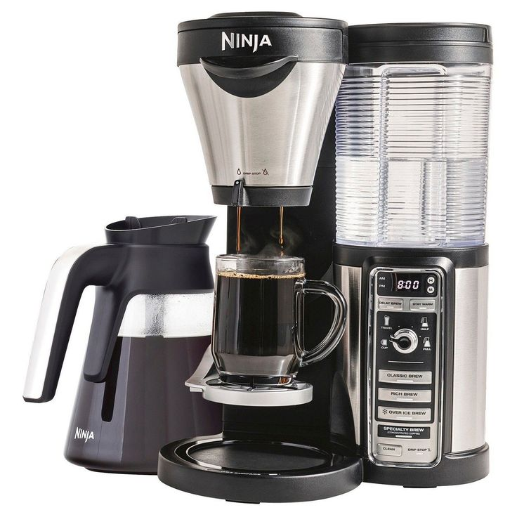 • Coffee maker with glass carafe<br>• Reusable mesh filter and scoop<br>• Automated controls for a variety of specialty coffee creations and size<br>• Large water reservoir for convenience <br><br>Bring your favorite coffee bar to the comfort of your own home with the Ninja Coffee Bar Coffee Maker with Glass Carafe. Brew your favorite signature coffee selection into your favorite mug for a unique experience every time. #homebrewinggear