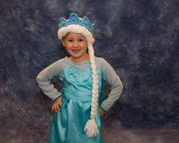 Elsa Frozen Crochet Pattern Child Adult Hat Baby Costume Wig Beanie Crochet Princess Kids Accessories Toddler Girl