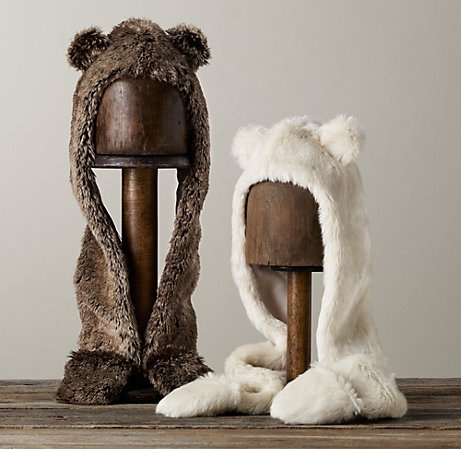 Faux Fur Animal Hood: Offered in arctic fox or mink. Machine wash.