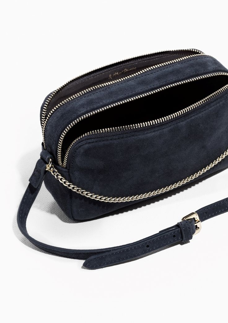& Other Stories image 2 of Dual Pocket Suede Crossover Bag in Navy