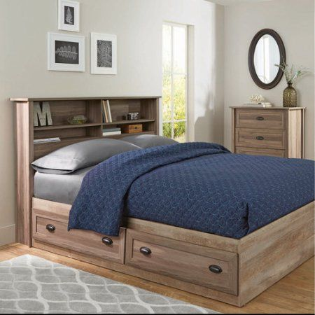 Better Homes and Gardens Lafayette Full/Queen Bookcase Headboard, Washed  Oak Finish