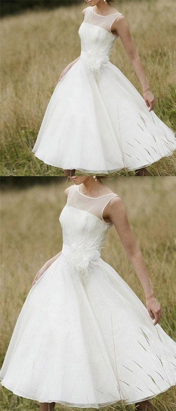 bf8fbb3bf02 Simple Illusion Neck Cheap Short Wedding Dresses Online