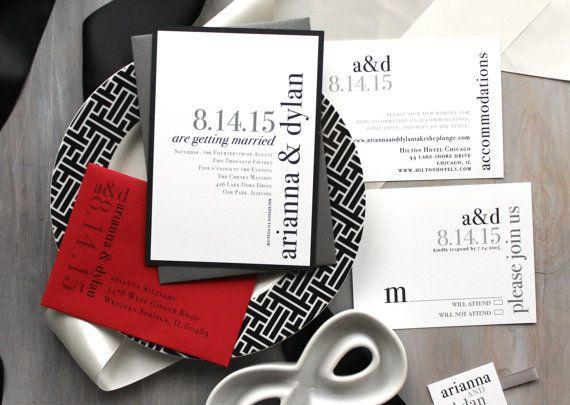 Modern Wedding Invitations Wedding Invitations Red by BeaconLane