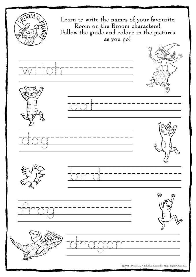 Room on the Broom handwriting activity