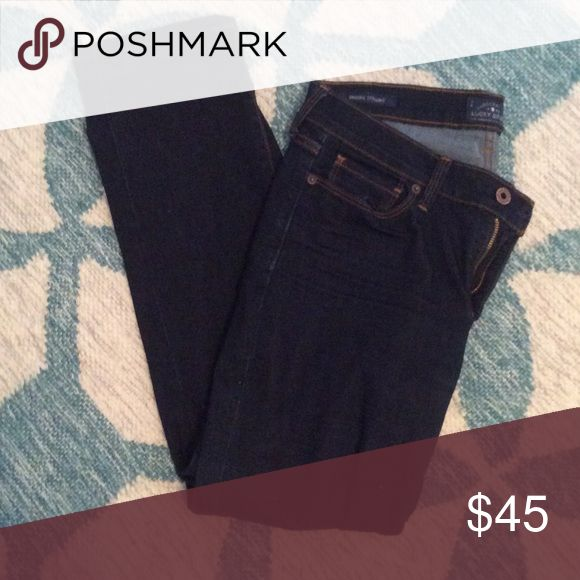 Lucky Brand Jenas Lucky brand dark wash Jean in the Brooke straight style - size 10/30R - worn only 3 times Lucky Brand Jeans Straight Leg