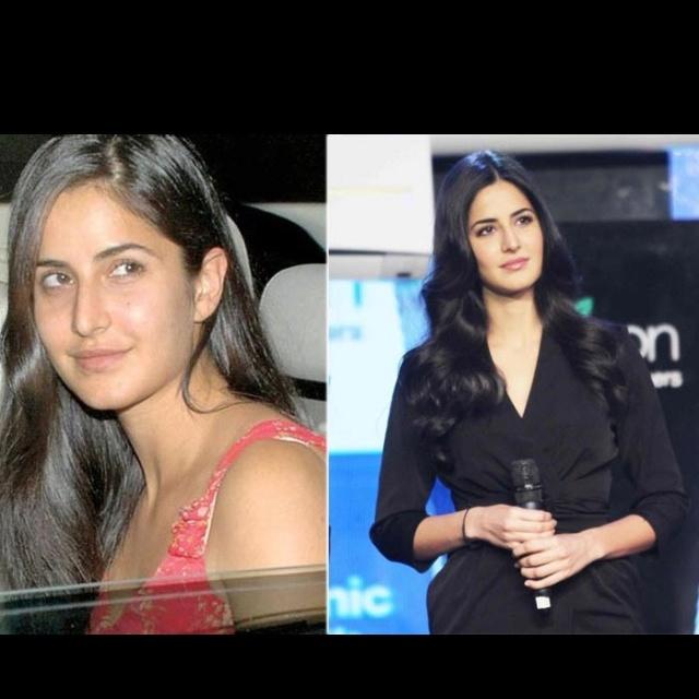 Katrina Kaif with and without makeup.......