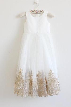 Light Ivory Flower Girl Dress with Gold Embroidery Straps Ivory Baby Girl Dress Ivory Embroidery Flower Girl Dress Floor-length D13