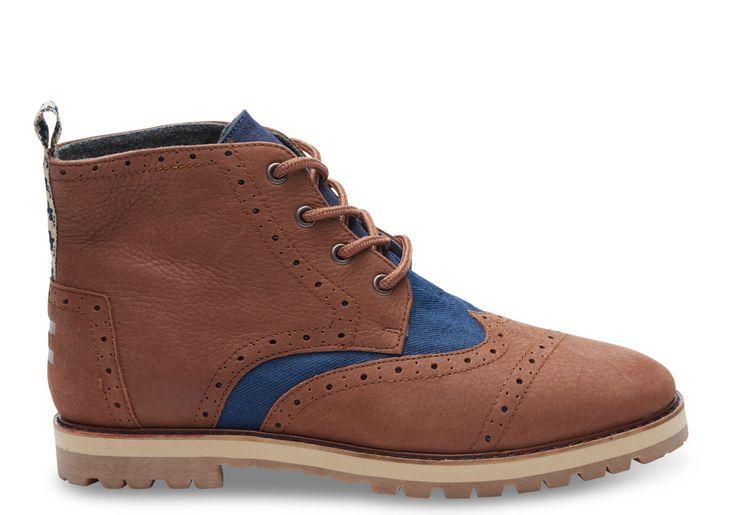 Chestnut Brown/Navy Chestnut Brown Full Grain Leather/Navy Herringbone Men's Brogue Boots