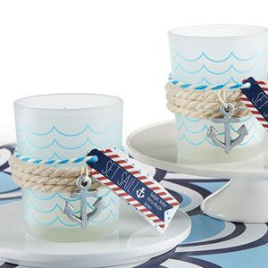Nautical Frosted Glass Tea Light Holder With Anchor Charm (Set of 4)